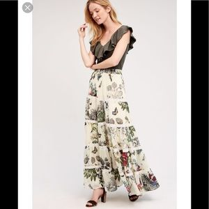 Anthropologie Floral Tiered Maxi Skirt🌟